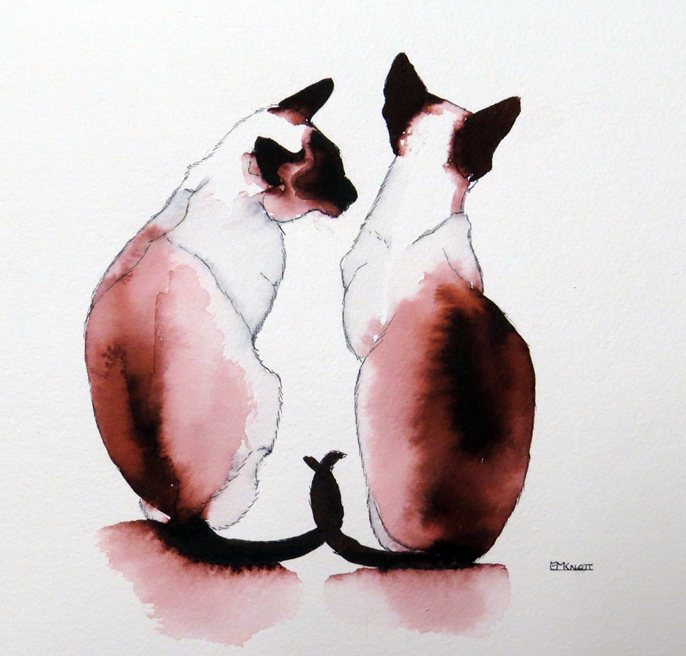 KnottEuniceM_EssenceOfSiameseKeepingSecrets_SiameseCats_Inks_31x30cm_£150